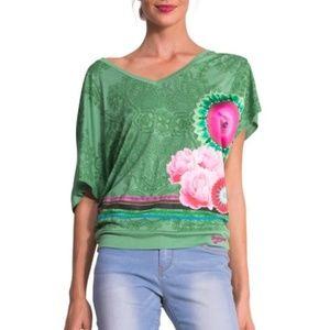 Desigual Green Flowy T w/pink flowers NWT- B3